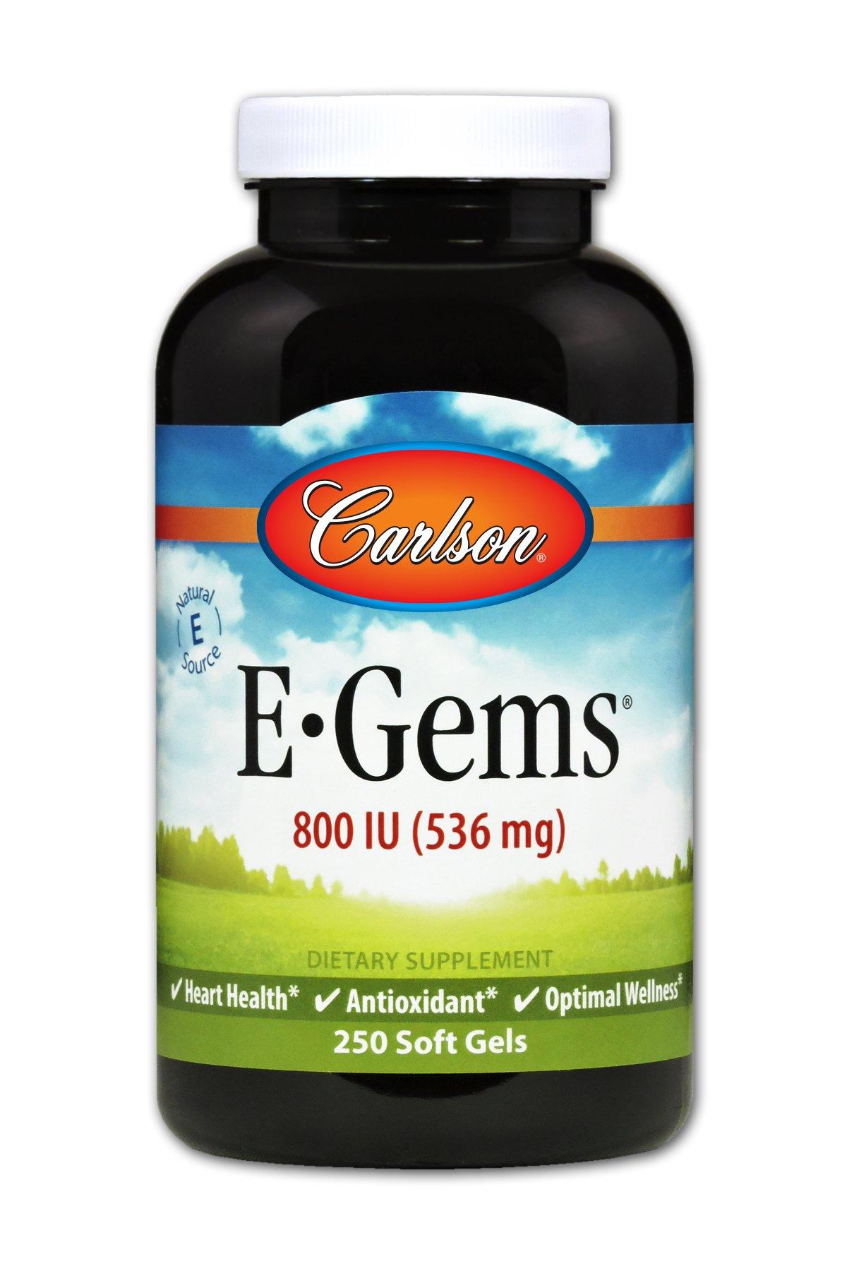 Carlson E-Gems 800 IU, Vitamin E, Heart Health, 250 Soft Gels