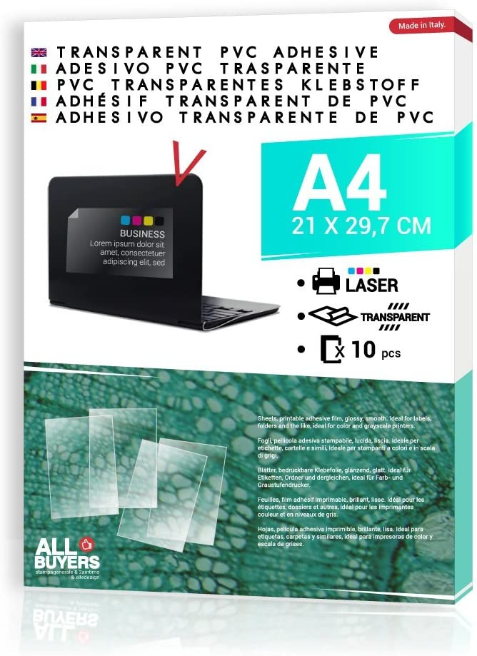 2AINTIMO Papel Adhesivo Transparente para impresora láser – 10 x ...