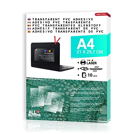 2AINTIMO Papel Adhesivo Transparente para impresora láser ...