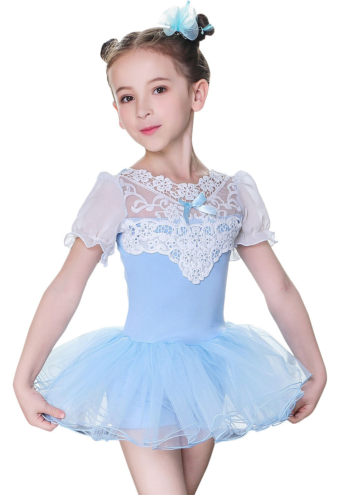 Baby Girl Dance Ballet Dress Breathable Chiffon Performance Outfit for Party Wedding Retical Blue 6-7Y