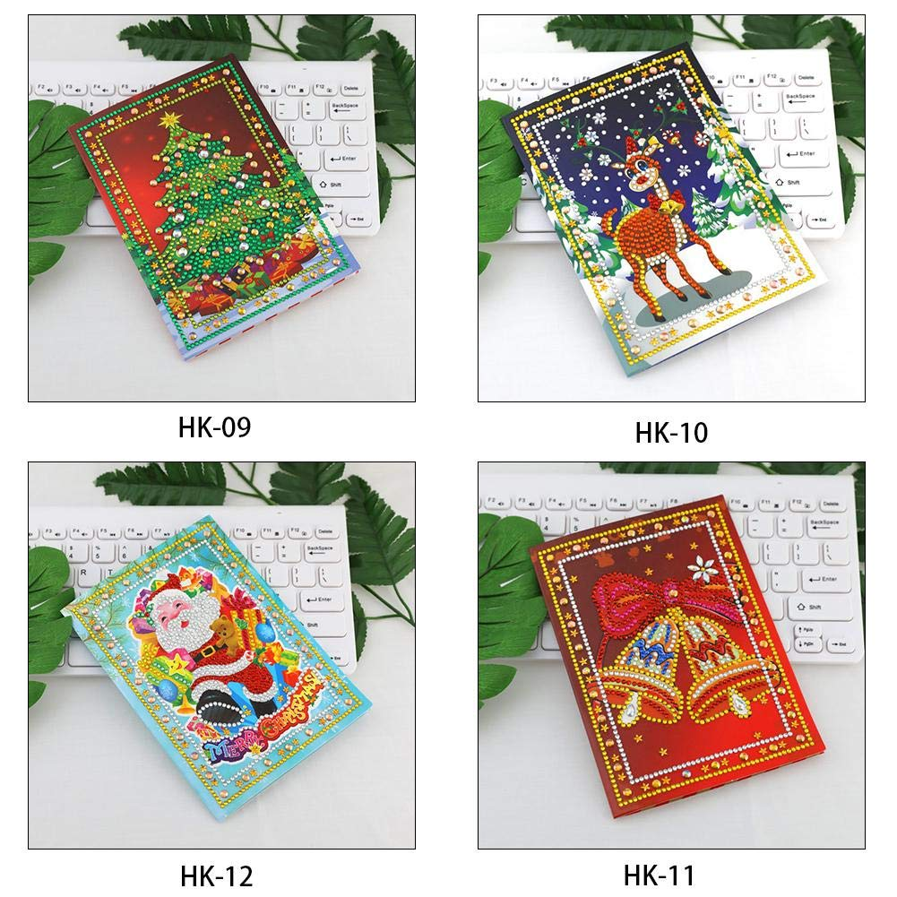 Ljourney 4 Pack DIY 5D Christmas Card Making Kit Diamond Painting Round Drill Greeting Cards Creative Christmas Card Rhinestone Embroidery Arts Craft Handmade Greeting Christmas Card