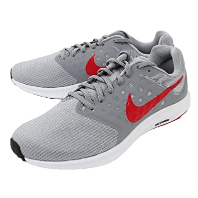 Nike Men s Wolf Grey Red Stealth Black Downshifter 7 Running Shoes  (852459-013) 8e29ce190089c