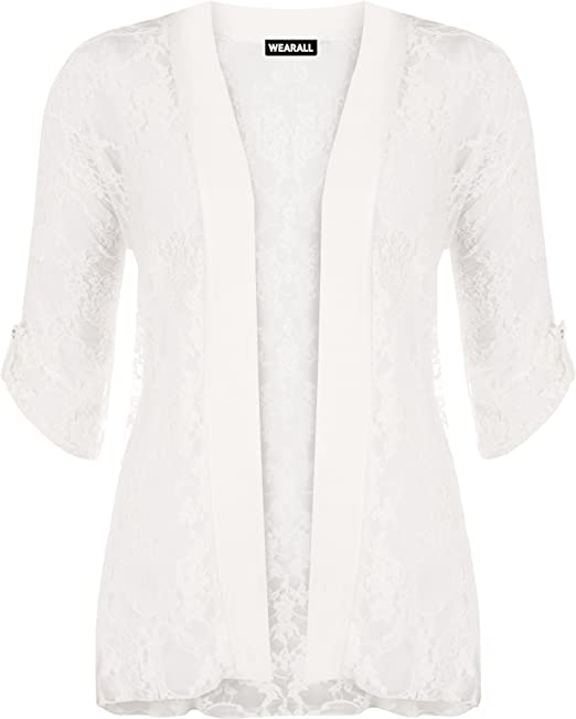 WearAll - Damen Übergröße Spitze Offen Cardigan Top - Crème - 40-42