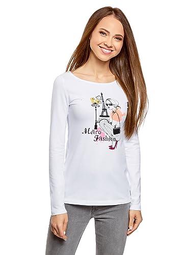 oodji Collection Mujer Camiseta de Manga Larga sin Etiqueta