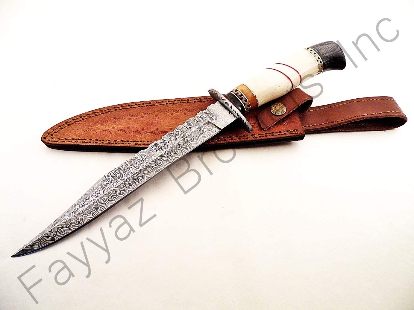 FAYYAZ BROTHERS Custom Hand Made Damascus Steel Hunting Knives Bowie Knife FBK-15666 and 15667
