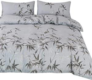 OREISE Duvet Cover Set King Size 100% Cotton 3Piece Luxury Bedding (1 Duvet Cover + 2 Pillow Shams) with Zipper Closure, Ties (Grey Branches Leaves, King 104x90 inches)