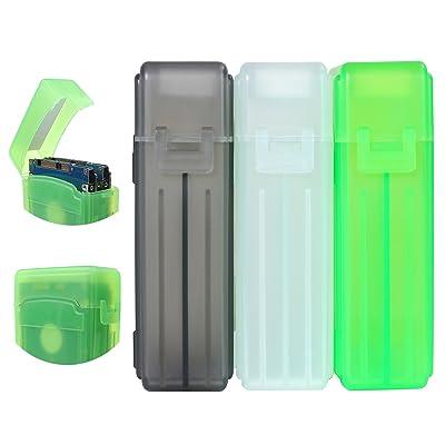 KOSBON Pack de 3 2,5 pouces SSD Disque dur Protection du disque Boîtier de stockage pour disque dur (plastique) (Gray/White/Green)