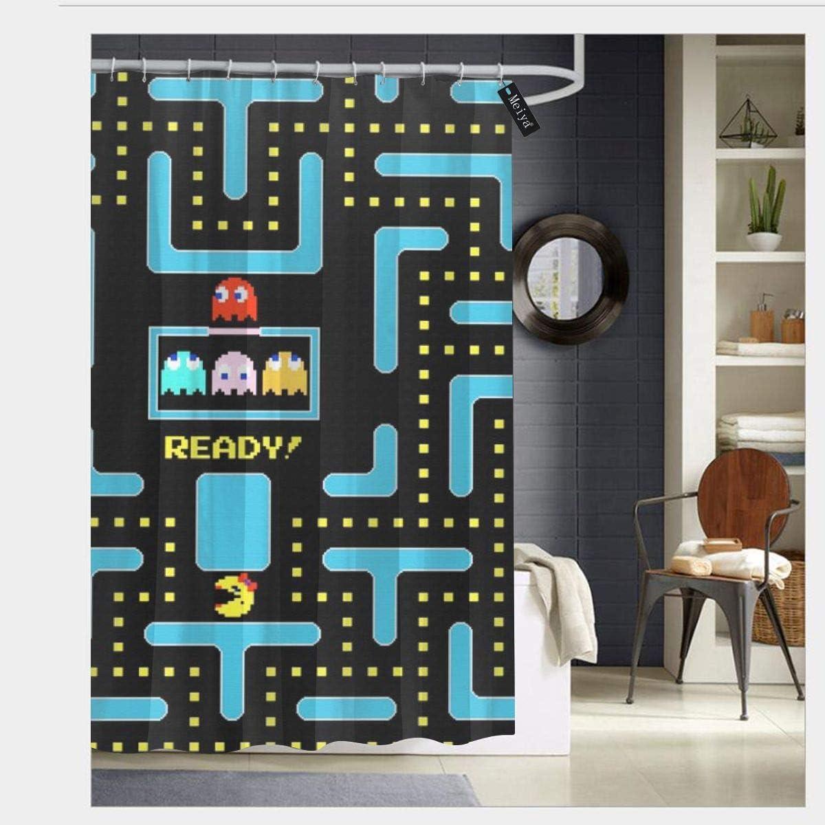 60x72 Inch Cortinas de Ducha Resistentes al Moho Mesllings Pacman