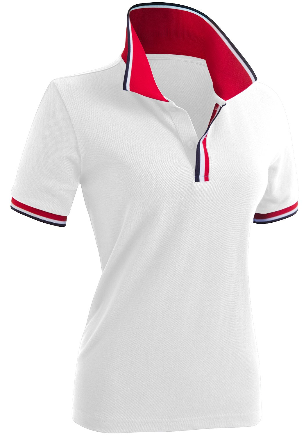 CLOVERY Women's Two Tone Collar Short Sleeve Basic Polo Shirts White US L/Tag L