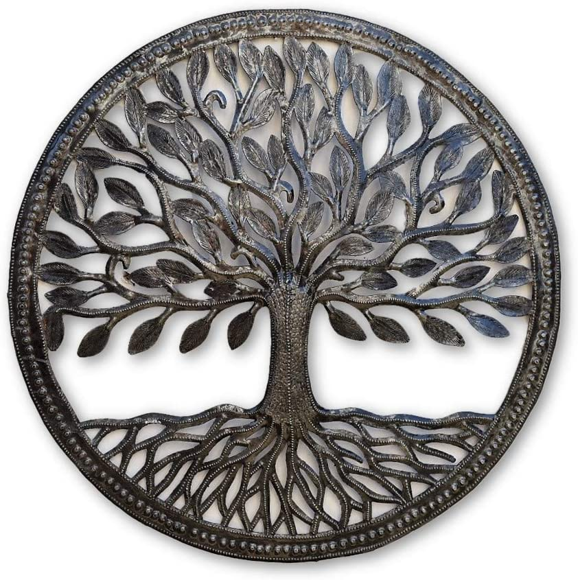 Small Organic Tree of Life Framed, 17.25 In., Wall Hanging Decorative Metal Art, Handmade in Haiti, Indoor and Outdoor, Recycled Steel