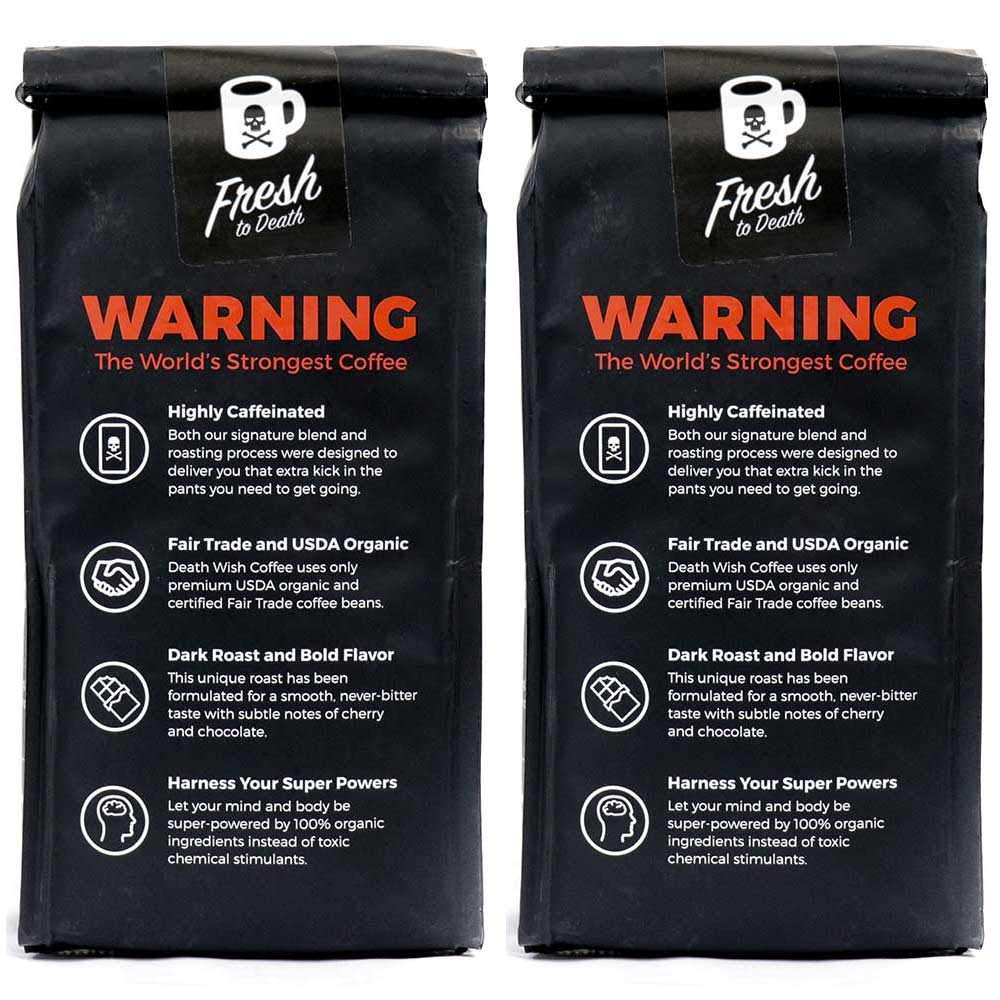 Death Wish Whole Bean Coffee Bundle Deal, The World's Strongest Coffee, Fair Trade and USDA Certified Organic - 2 lb by Death Wish Coffee Co. (Image #2)