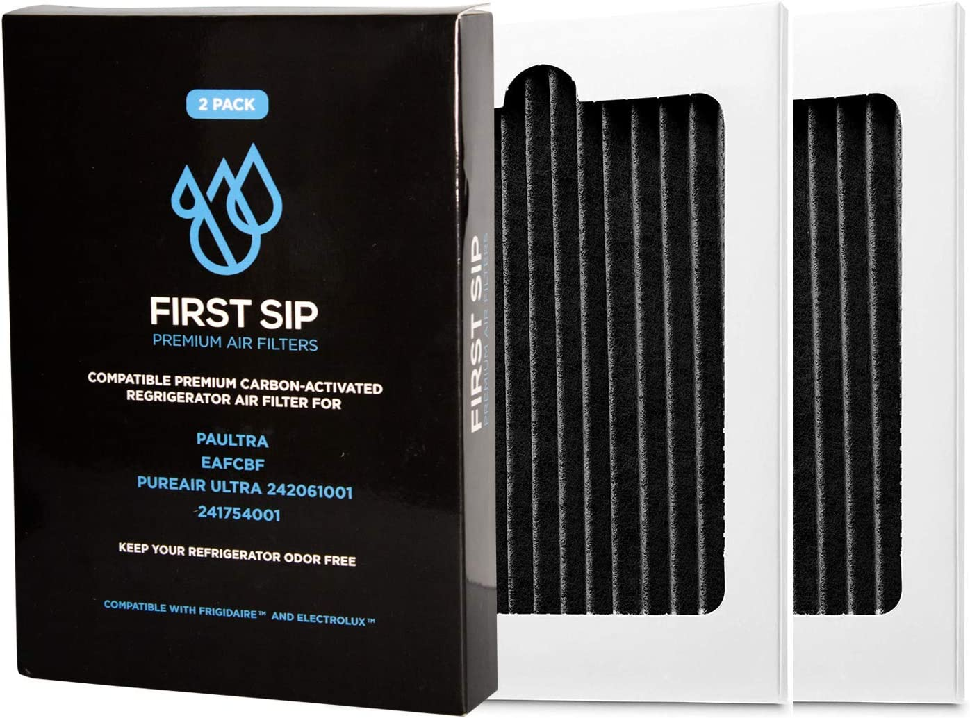 First Sip Refrigerator Air Filter Replacement 2-Pack Compatible With Frigidaire Pure Air Ultra, Electrolux, EAFCBF, PAULTRA, 242061001, 241754001, SP-FRAIR!