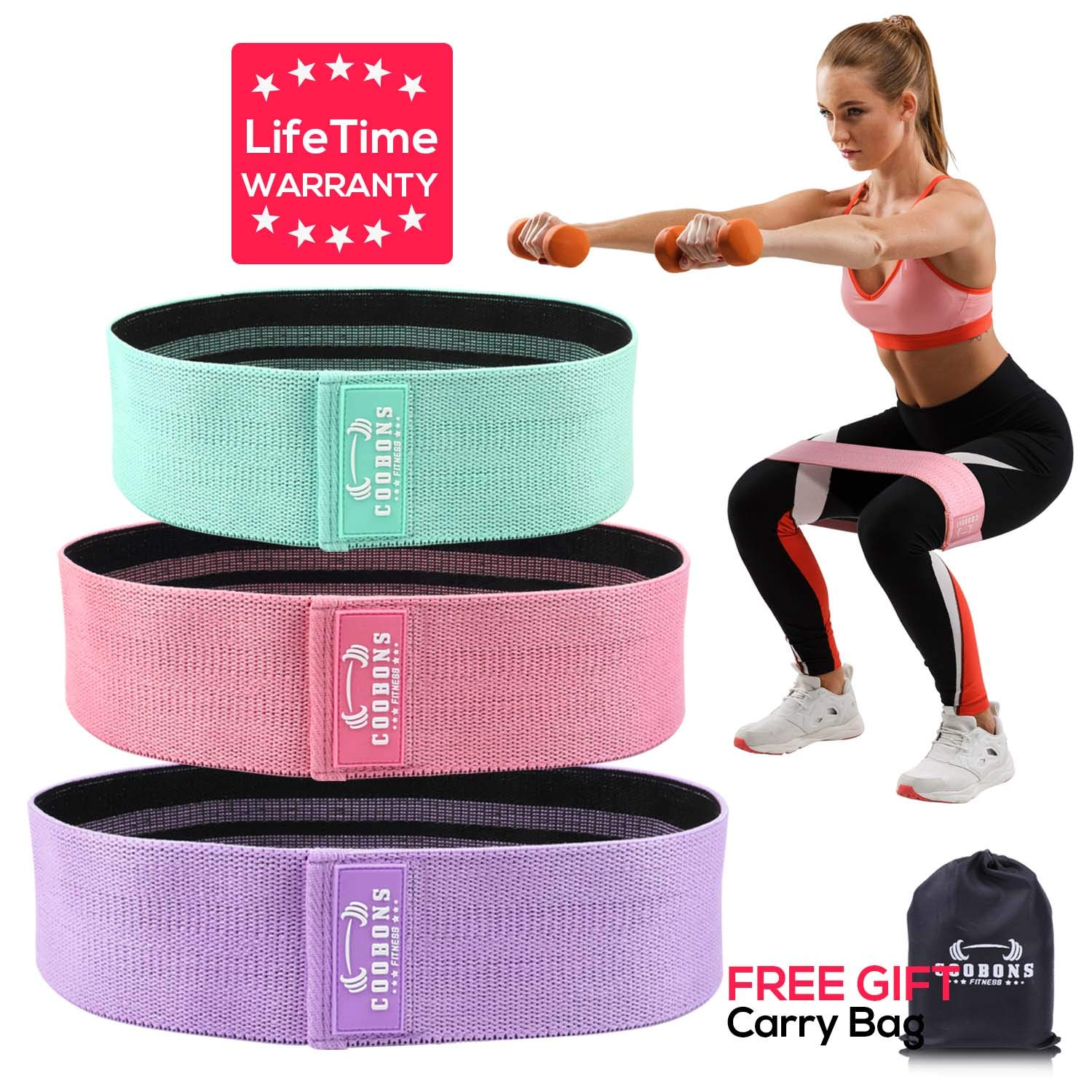 COOBONS Resistance Bands for Legs and Butt,Exercise Bands Hip Bands Booty Bands Wide Workout Bands Resistance Loop Bands Anti Slip Circle Fitness Band Elastic Sports Bands Set of 3 (2019 Upgraded)