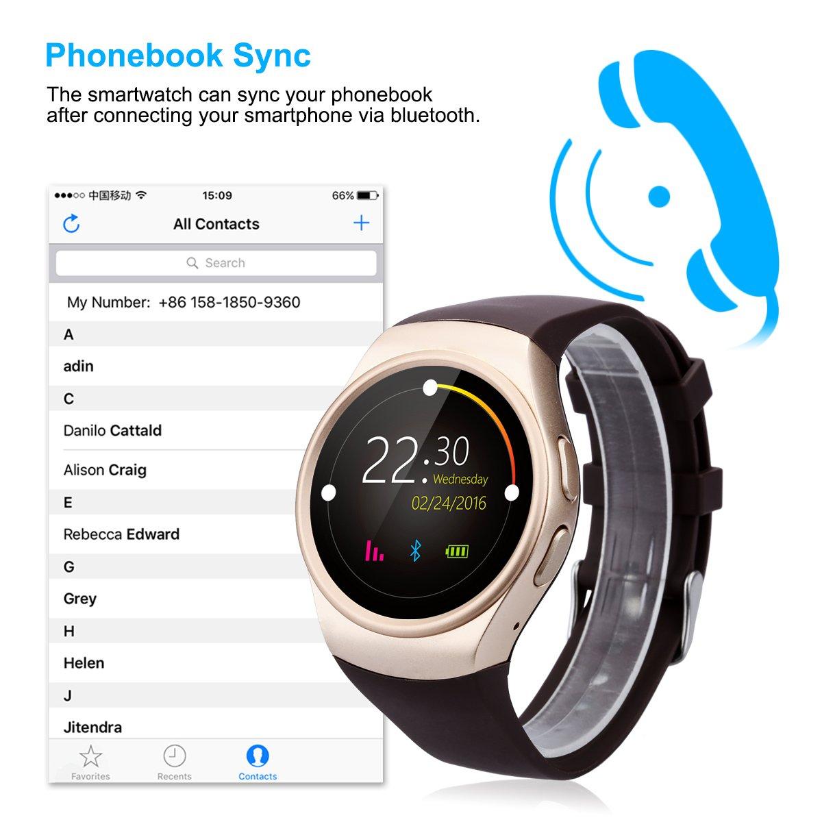 Excelvan KW18 - 4G Ajustable Smartwatch Smartphone Reloj Android iOS (Pantalla 1.3, 4G micro SIM, Bluetooth 4.0, Ritmo Cardíaco, Podómetro, Monitor ...