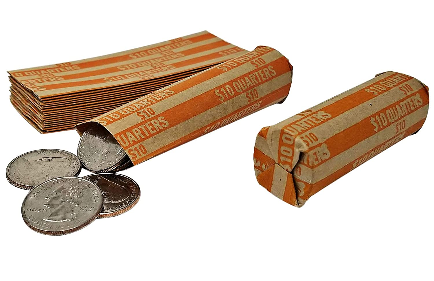 J Mark 100 Coin Roll Wrappers and J Mark Coin Deposit Slip Flat Coin Rollers Dime