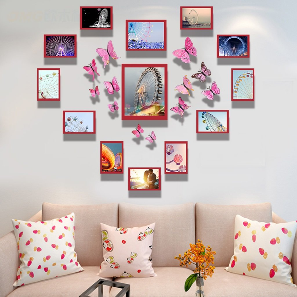 ZGP Home@Wall photo frame Photo Wall Combination Photo Frame Heart Shaped Creative Personality Photo Wall Dormitory Bedroom Living Room Wall (Color : G, Size : 127M100cm)