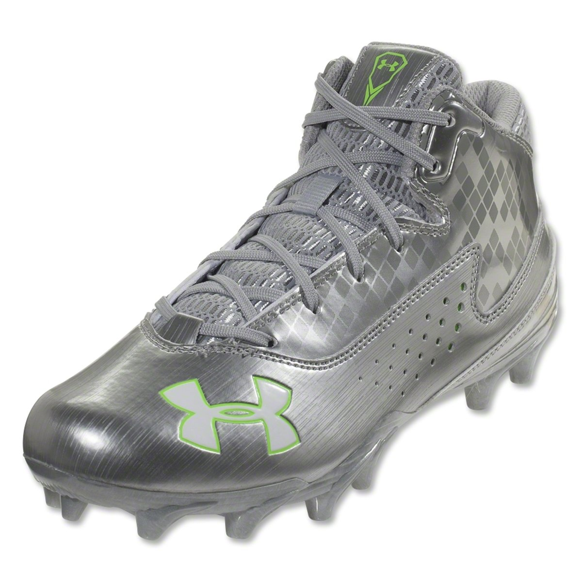 Mens Under Armour Ripshot Mid MC Lacrosse Cleat Metallic Silver/Hyper Green