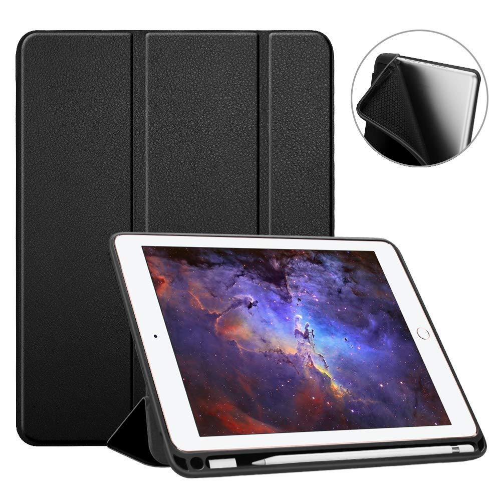 Fintie iPad 9.7 2018 Case with Built-in Apple Pencil Holder - [SlimShell] Lightweight Soft TPU Back Protective Stand Cover with Auto Wake/Sleep for Apple iPad 2018 9.7 Inch (6th Gen), Black