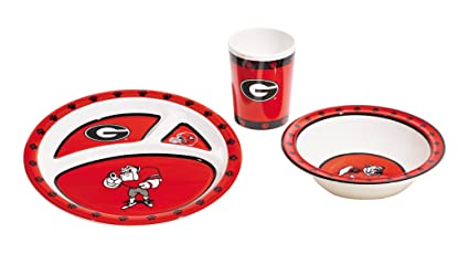 Amazon.com: NCAA Georgia Bulldogs Kids Plato Set (3 piezas ...