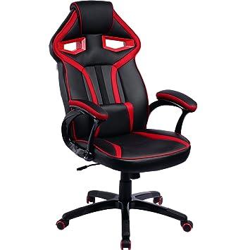 Silla de videojuegos, asiento racer con reposacabezas, cojín lumbar ajustable y función mecedora,