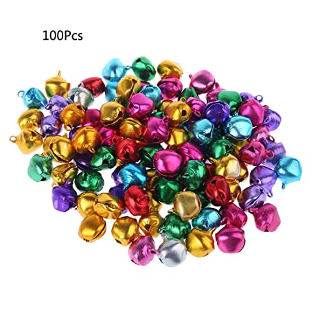 100Pcs 6*8mm Colorful Iron Loose Beads Christmas Jingle Bells For Pendant Charms