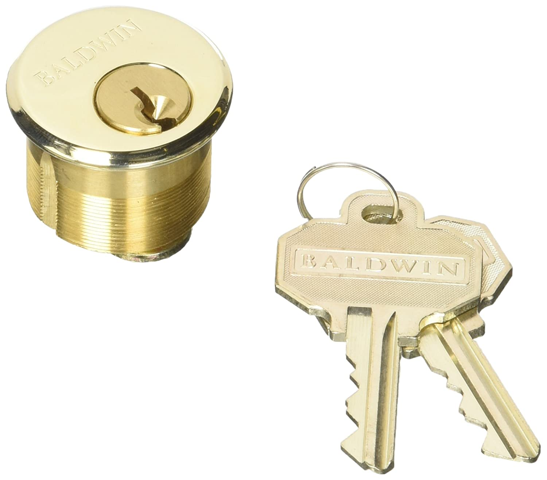 """Baldwin 8321 1"""" Mortise Cylinder C Keyway, Lifetime Polished Brass"""