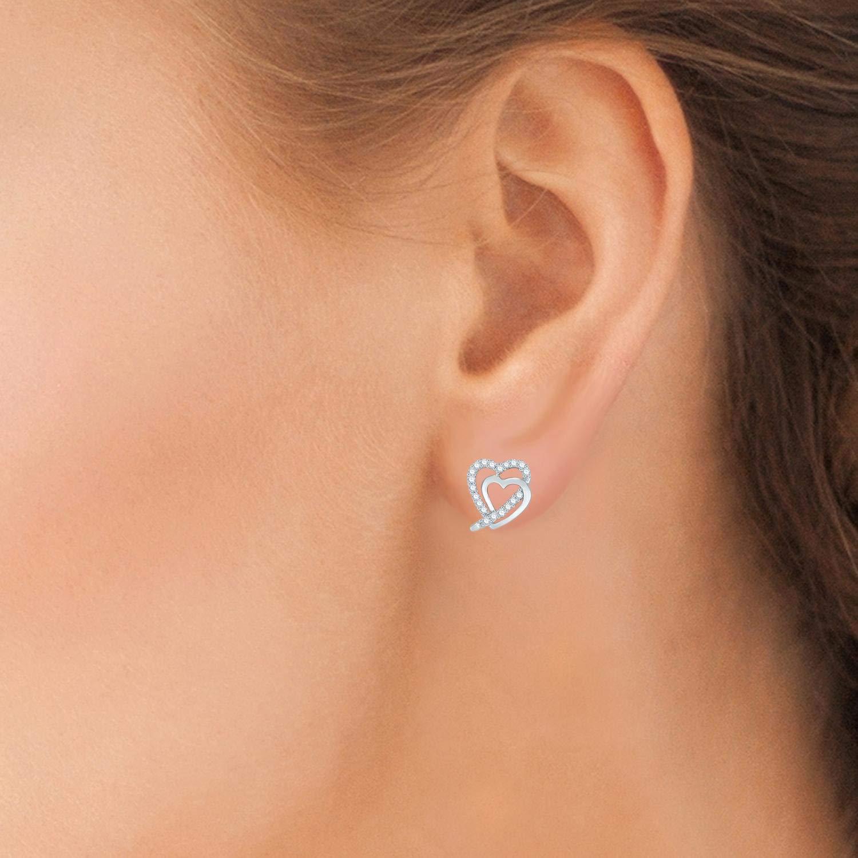 1//8 cttw Diamond Double Heart Studs in Sterling Silver