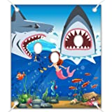 Shark Party Decorations Shark Photo Prop, Giant Fabric Shark Photo Booth Background, Funny Shark Theme Party Games Supplies for Shark Birthday Party 5x 4.3 ft