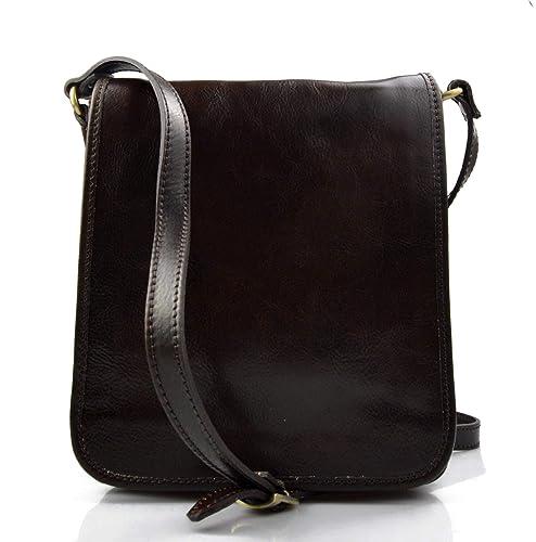 1775b1538dec4 Bolso de cuero bandolera de piel cartero marron oscuro de hombre de mujer  de cuero bolso