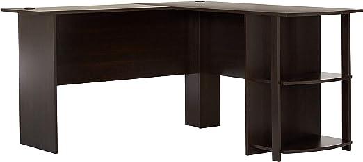 Amazon Com Dakota L Shaped Desk With Bookshelves Espresso Furniture Decor