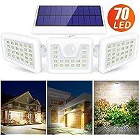 Claoner Luz Solar Exterior, 70 LED Foco Solar con Sensor de Movimiento Lámpara Solar de Seguridad Impermeable IP65 con 3 Cabezas Ajustable de 360° para Entrada Garaje Patio y Jardín-1200 Lúmenes