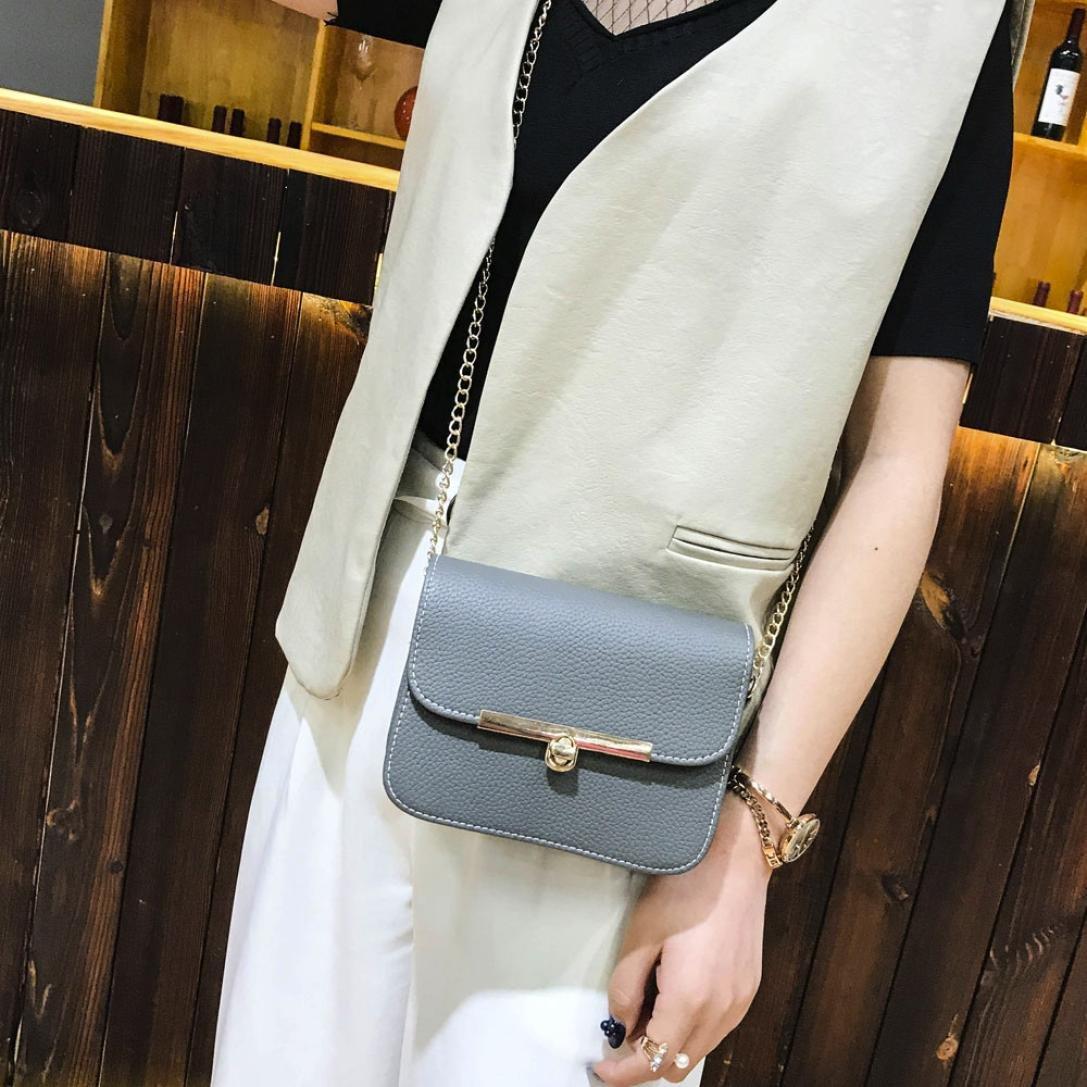 Amlaiworld Donna ragazze metallo catena borsa a tracolla pu pelle piccola borsetta