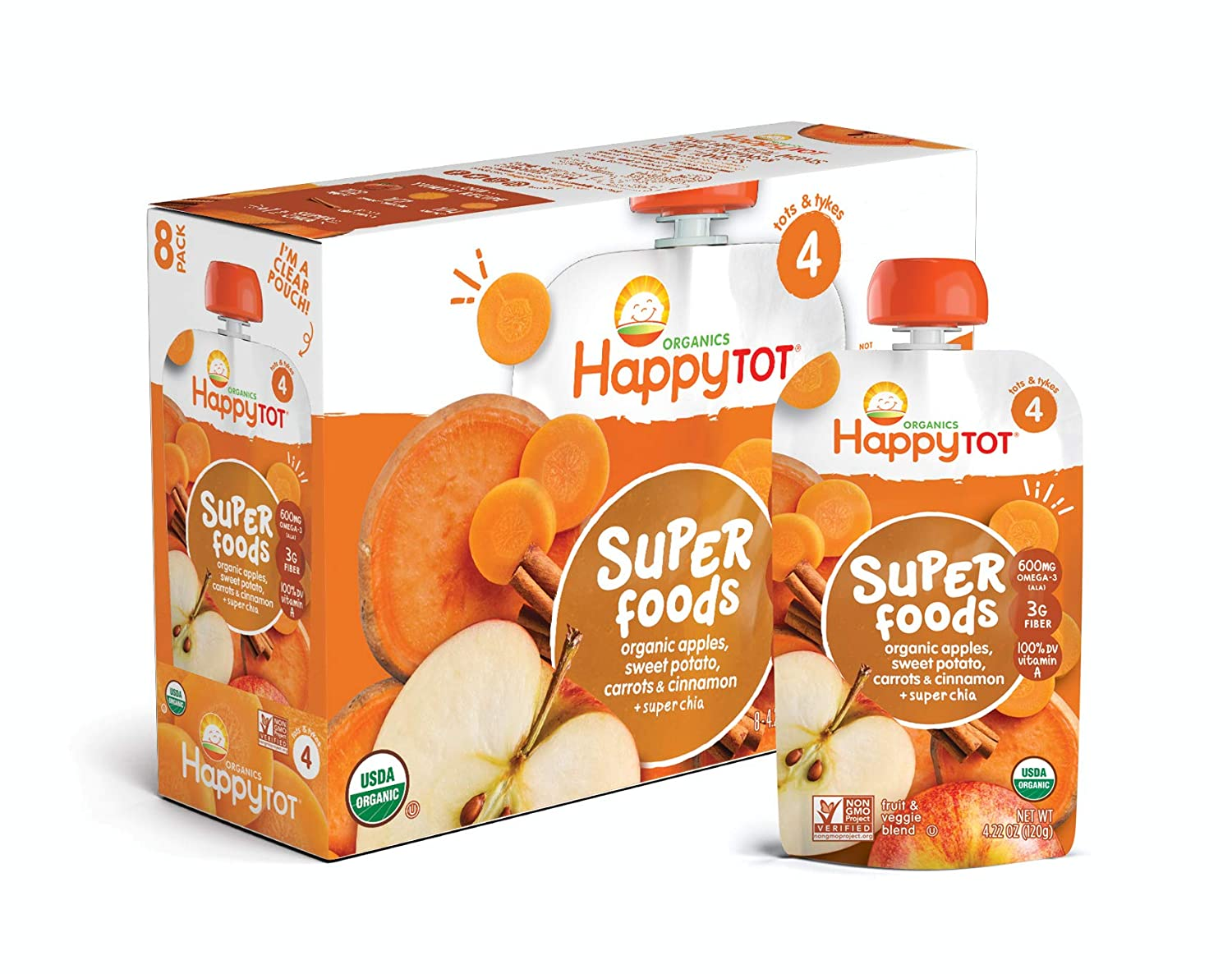 Happy Tot Organic Stage 4 Super Foods Pears Bananas Sweet Potatoes & Pumpkin + Super Chia, 4.22 Ounce Pouch (Pack of 16) (Packaging May Vary) 01029