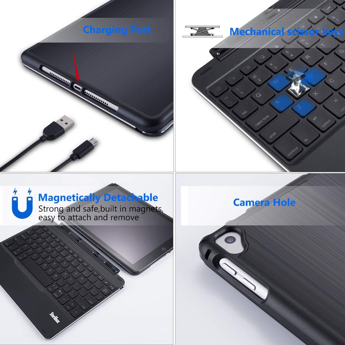 iPad Keyboard Case for The 2018 iPad (6th Gen), 2017 iPad (5th Gen), iPad Pro 9.7, iPad Air 1 - Auto Sleep/Wake - Detachable & Quiet - 7 Color Backlit - Wireless/Bluetooth - iPad Case with Keyboard by Sterlibox (Image #6)