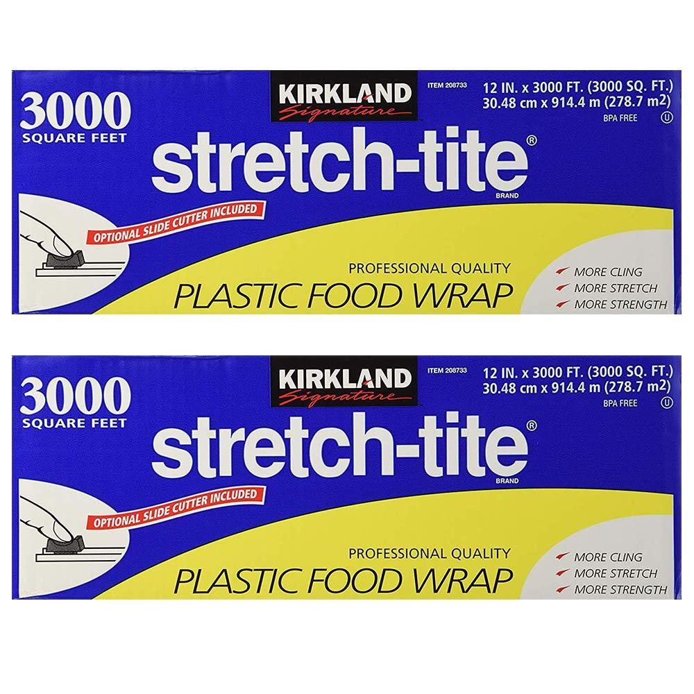 Kirkland Signature Stretch-Tite Plastic Food Wrap - Parent (6000 SQ. FT (2 Pack, 12'' x 3000 SQ. FT Each)) by KIRKLAND SIGNATURE