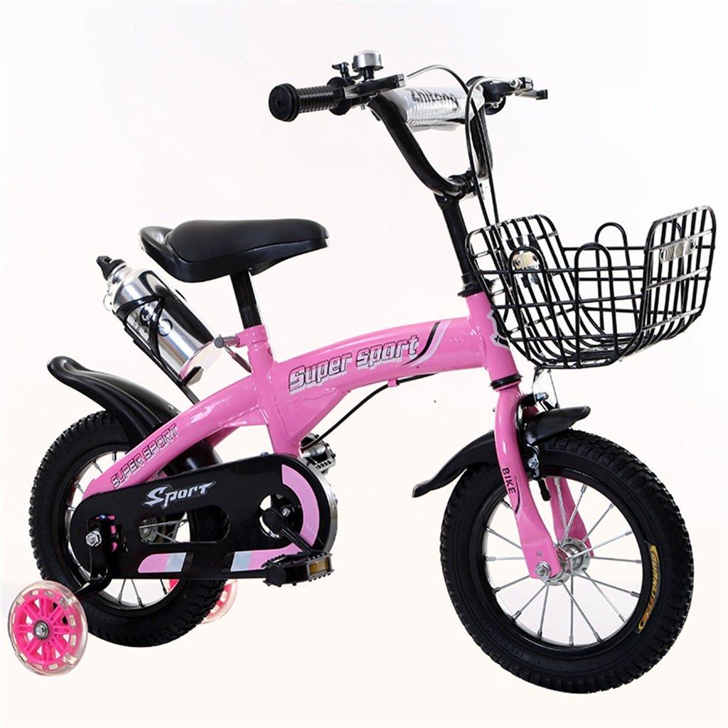 子供の自転車12|14|16|18インチ屋外の子供赤ちゃんキッドマウンテンバイクフラッシュトレーニングホイールで3-9歳の男の子の女の子のギフト|アイアンバスケット|ウォーターボトルセーフ B078GN6DK8 18 inches|ピンク ぴんく ピンク ぴんく 18 inches