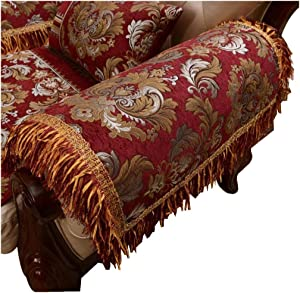 Sideli Luxury Chenille Jacquard Armrest Cover for Chair Couch Sofa Anti-Slip Furniture Protector(2pc-14x14-sofa arm Cover ASL-red)