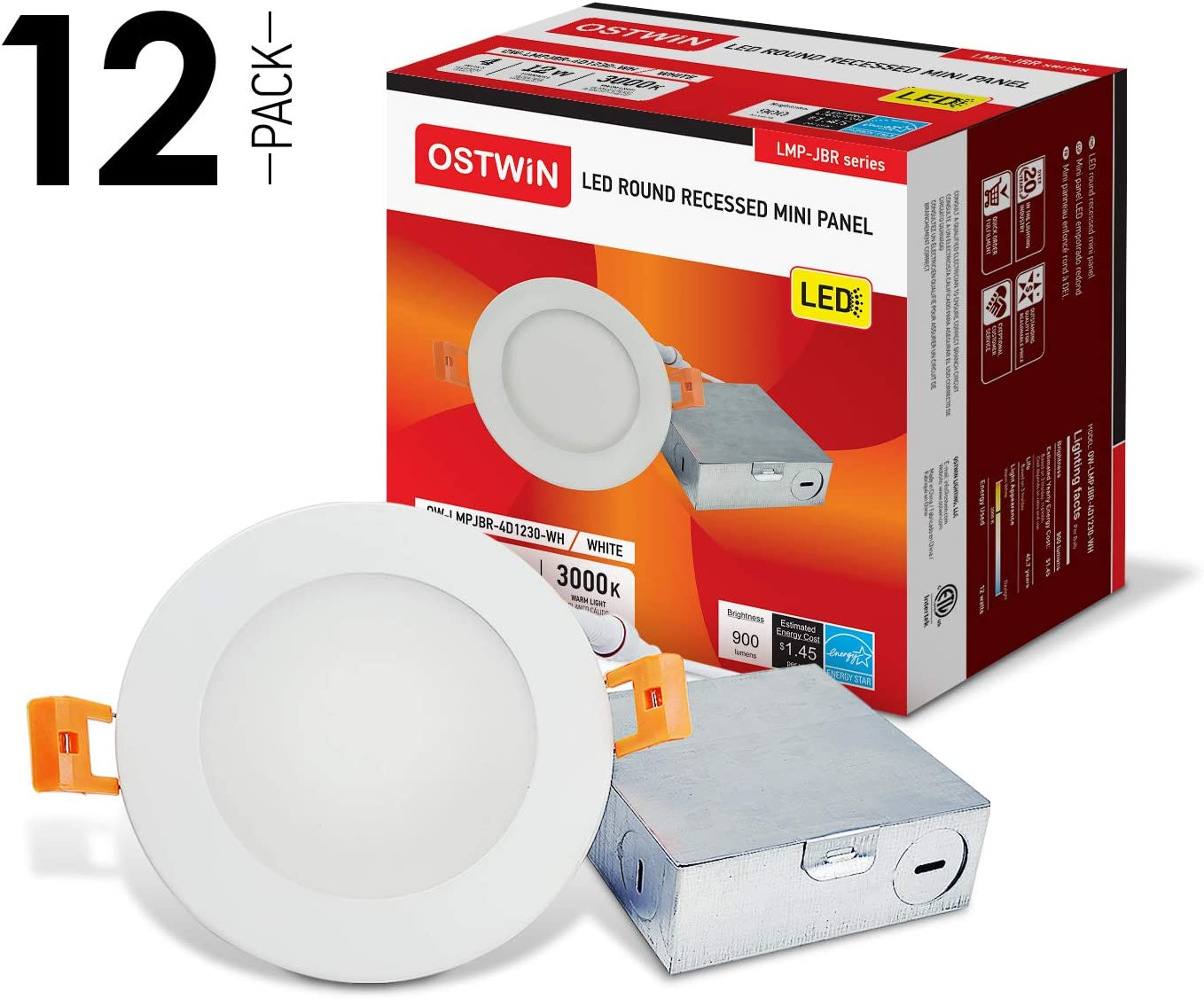 OSTWIN 4 Inch Ultra-Thin LED Recessed Ceiling Light with J-Box, 3000K, 12W (60 Watt Repl) Dimmable Can-Killer Downlight, IC Rated 900LM High Brightness (12 Pack) ETL and Energy Star Certified