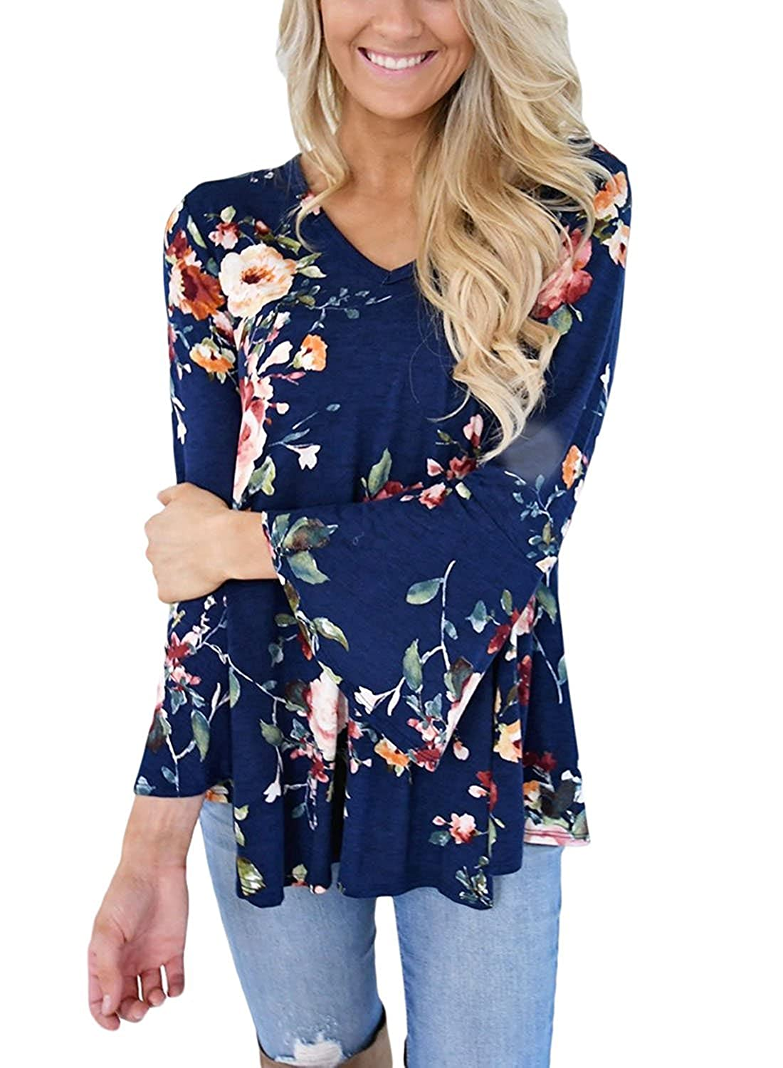 9adefafc07 Yonala Women's 3/4 Bell Sleeve Hollow Out Patchwork Floral Short Blouses  Tops at Amazon Women's Clothing store: