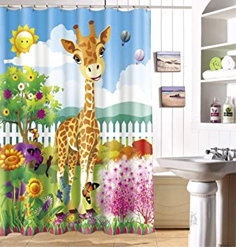 ChezMax 3D Giraffe Bathroom Curtain Home Fabric Shower Curtain With 12  Hooks 59u0026quot; ...