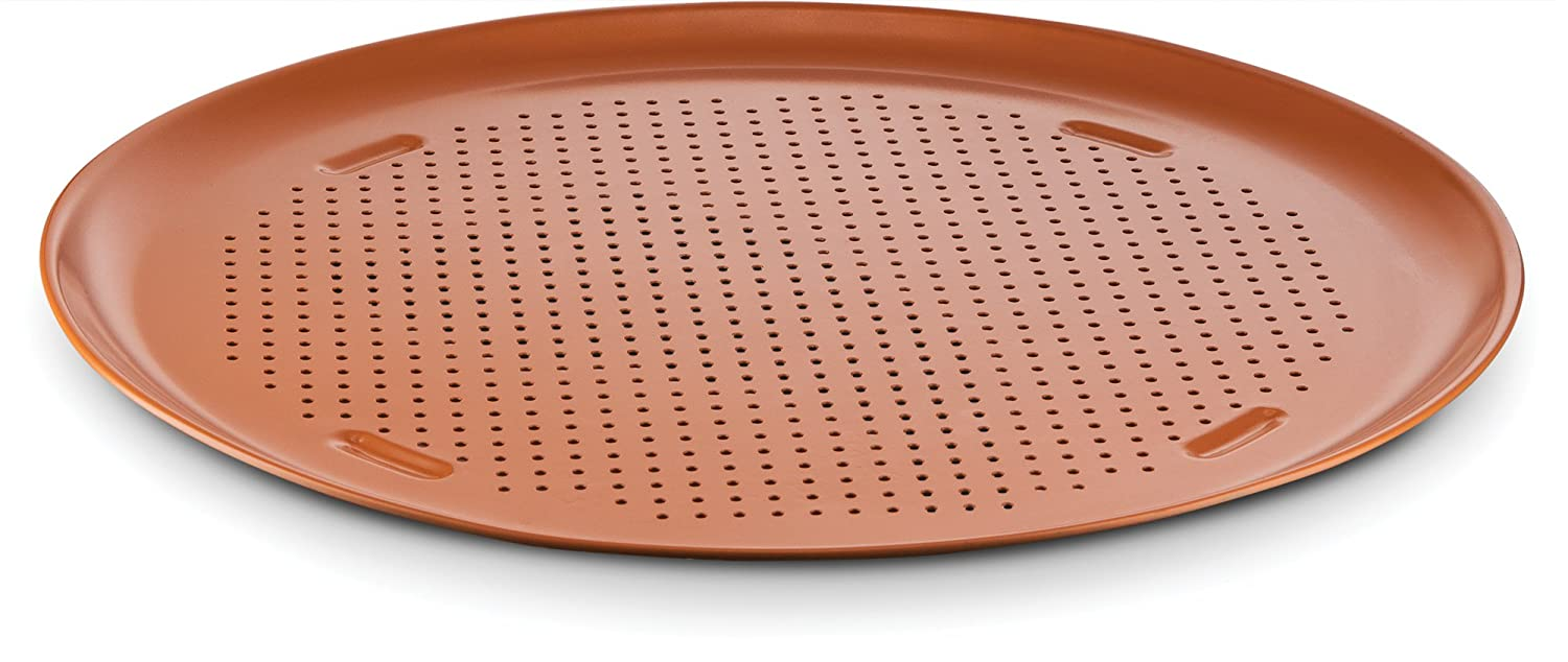 "Ceramic Coated Copper Pizza Pan 16"" – Premium Nonstick, Even Baking, Dishwasher and Oven Safe - PTFE/PFOA Free - Red Cookware and Bakeware by Bovado USA"