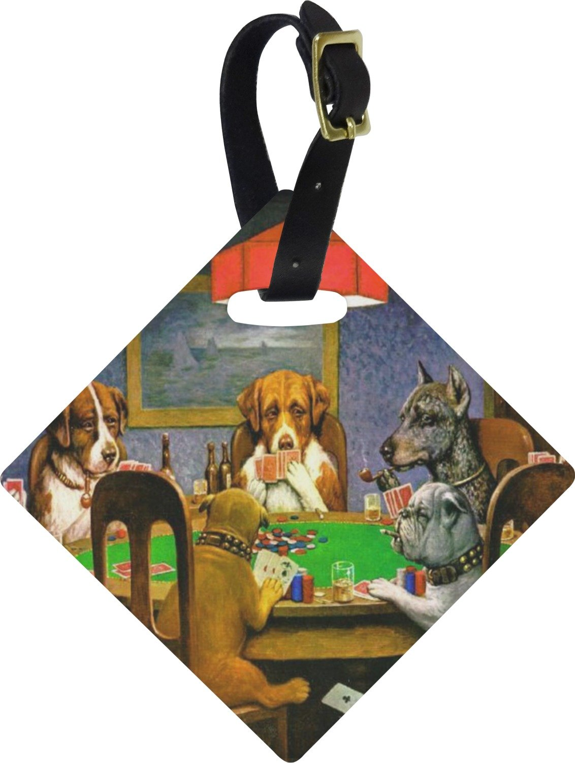 Dogs Playing Poker 1903 C.M.Coolidge Diamond Luggage Tag