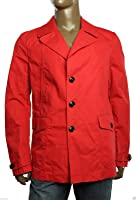 Tommy Hilfiger Italy Made Red Solid Cotton Blend New Men's Peacoat
