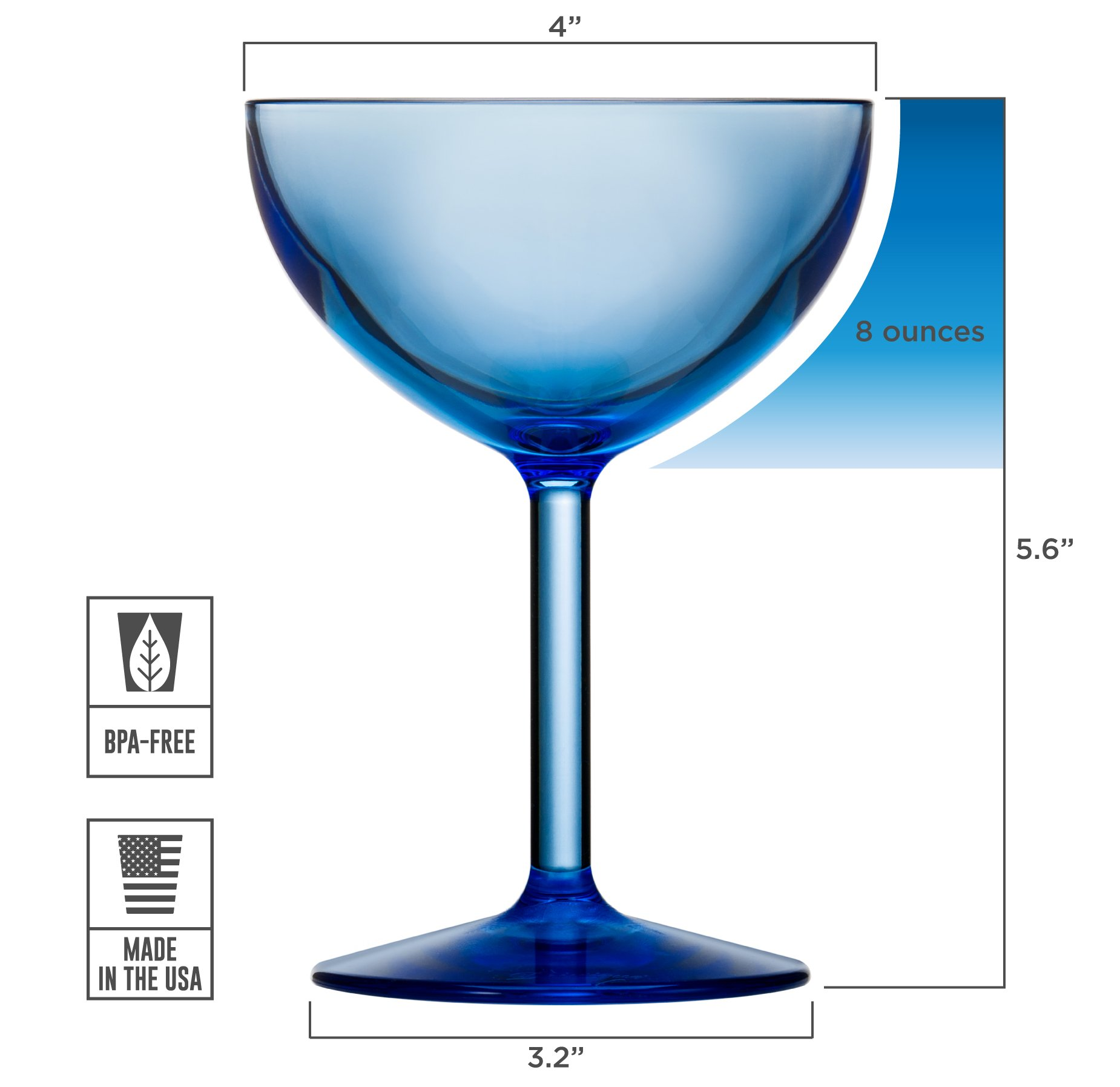 Drinique VIN-CU-BLU-24 Champagne Coupe Unbreakable Tritan Stemware, 8 oz. (Case Of 24), Blue by Drinique (Image #3)