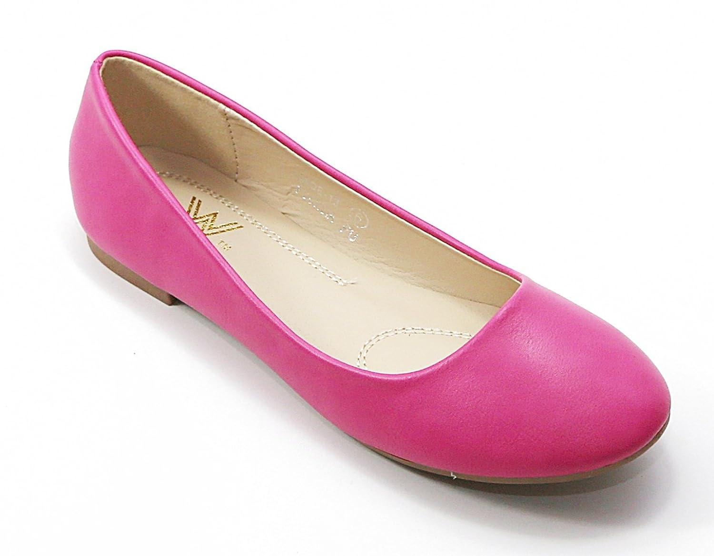 Walstar Women's Basic Round Toe Ballet Flat Shoes B015YJ4N3Q 8 B (Run Small, Order 1/2 size UP)|Fuchsia Pu