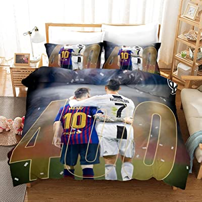 CLOVERDRESS 3 Piece Bedding Sets 3D Soccer Player Messi Pattern Duvet Cover Set with Hide Zipper 1 Duvet Cover+2 Pillowcases for Kids and Teens Adult Style19 Full: Home & Kitchen
