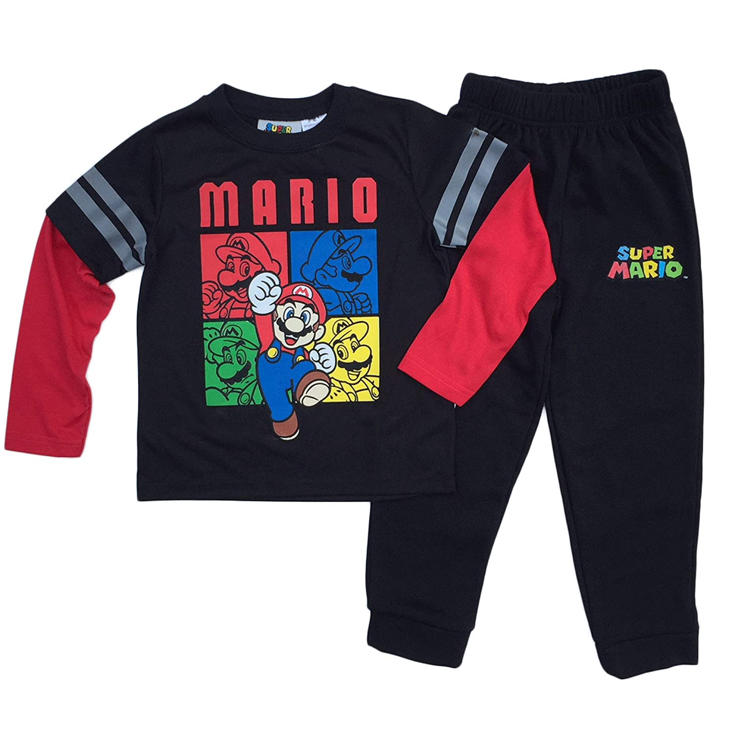 Super Mario Little Boys Fleece Pant and Tee Set