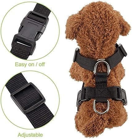 multifonction r/églable en tissu maille respirant SlowTon Harnais de voiture pour chien avec sangle de connecteur harnais de voyage r/égulier avec ceinture de s/écurit/é dans le v/éhicule de voiture