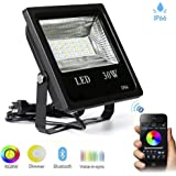 LED Flood Light 30W Super Bright With Bluetooth Conected APP Control RGBW Multi Color Changing Waterproof Spotlight Bulb for Garden, Home, Hotel, Landscape (30W, RGBW)