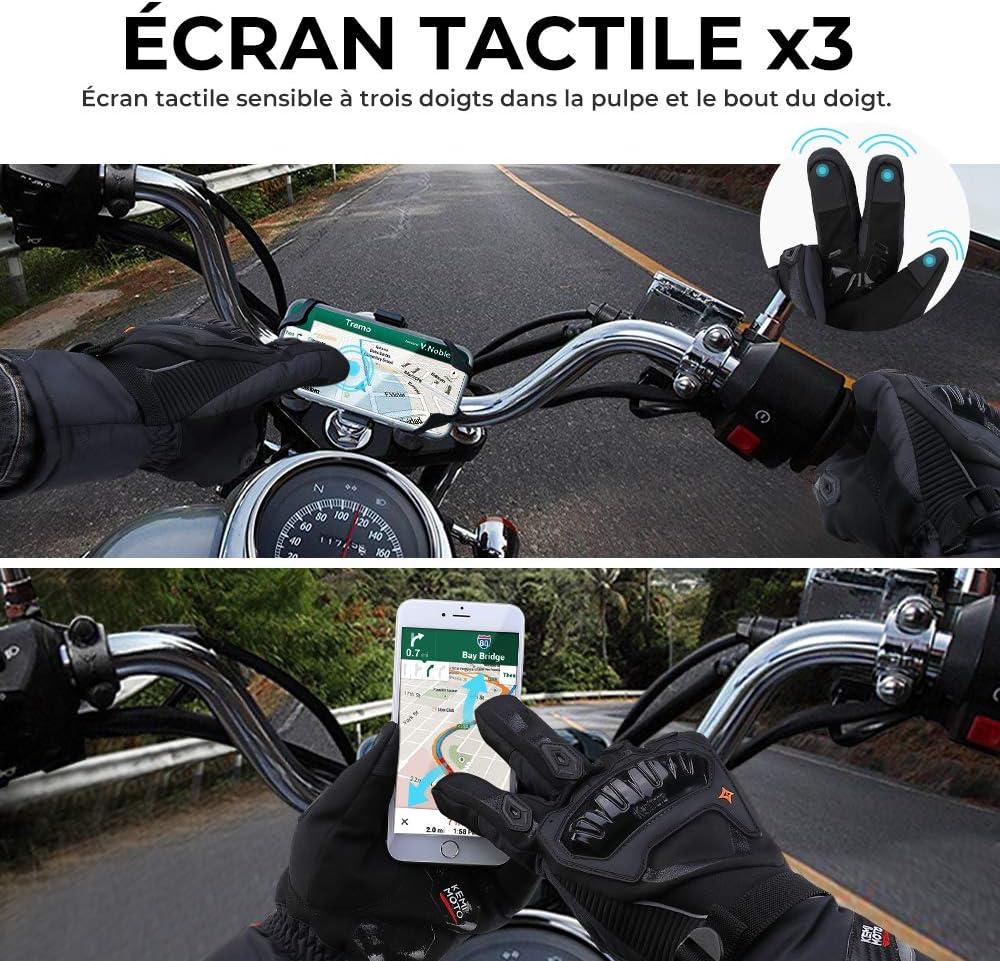 Gants Motocross Motocyclette Gants de Moto Hiver Unisexe Hommes Femmes Trois Doigts Ecran Tactile Imperm/éable Anti-Glisse Protection Articulations Coupe-Vent Moto V/élo Scooter